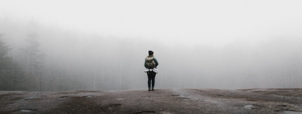 Lone woman facing foggy forest